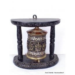 Moulin à prière tibétain orné de mantra 17 cm m102