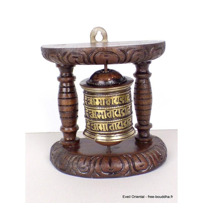 Moulin à prières bouddhiste chêne moyen 11 cm mou100