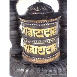 Moulin à prières tibétain bois noir mantras mou101