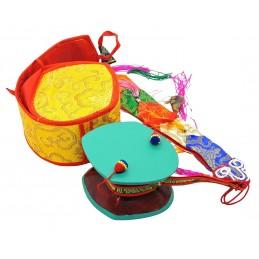 Instrument de musique DAMARU tibétain 11 cm Objets rituels bouddhistes DAMA11