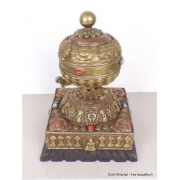 Moulin à prières bouddhiste sur socle pièce unique NMAP12.1
