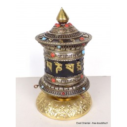 Moulin à prières tibétain de table patine antique 17 cm MAPT15