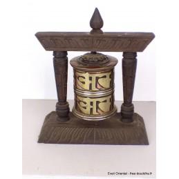 Moulin à prières tibétain de table grandes lettres 16 cm MAPT16