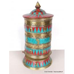 Grand moulin à prières tibétain de table 24 cm MAPT17