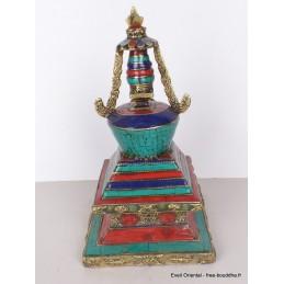 Stupa laiton pierres pour autel bouddhiste 21 cm Objets rituels bouddhistes ref 3755