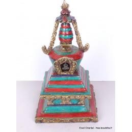 Stupa tibétain laiton pierres pour autel bouddhiste 22 cm Stupas, temples tibétains ref 3755.1