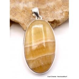 Imposant pendentif oval Agate Jaune à bandes Pendentifs pierres naturelles PU42.2