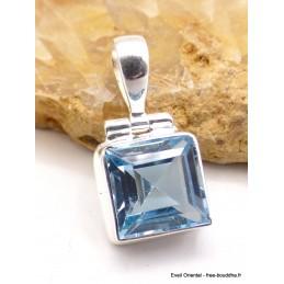 Pendentif Topaze bleue facettée carrée Pendentifs pierres naturelles PU43
