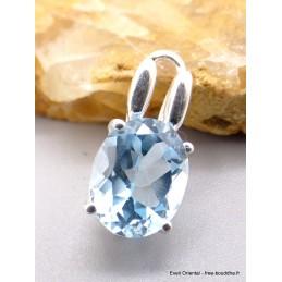 Pendentif Topaze bleue facettée bélière double Pendentifs pierres naturelles PU43.1