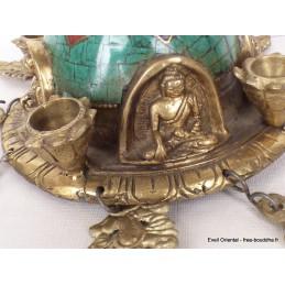 Stupa tibétain Feuilles en laiton et pierres Stupas, temples tibétains ref 82