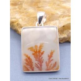 Pendentif Agate Scénique dendritique blanche orange Pendentifs pierres naturelles PU14.2