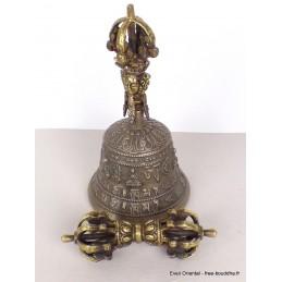 Cloche dorjé de cérémonie en bronze 19 cm CDHG2