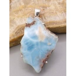 Pendentif Larimar brut tranche Pendentifs pierres naturelles PU47.1