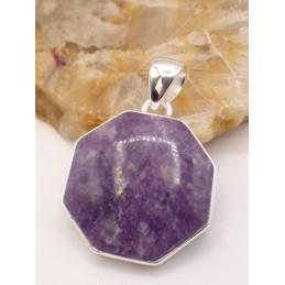 Pendentif Lepidolite hexagonal Pendentifs pierres naturelles PU59