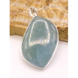 Grand Pendentif Aigue-marine cabochon asymétrique Pendentifs pierres naturelles PU61.1
