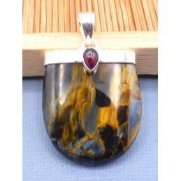 Pendentif Pietersite qualité AAA et grenat Pendentifs pierres naturelles PU77