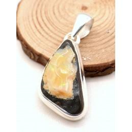 Pendentif Opale Boulder jaune opalescences vertes Pendentifs pierres naturelles PU87.1