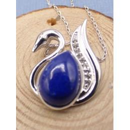 Collier Cygne en Lapis lazuli Pendentifs pierres naturelles PU105