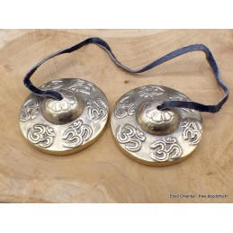 Tingshas cymbales tibétaines OM 6,5 cm Tingshas cymbales tibétaines TBDRA3