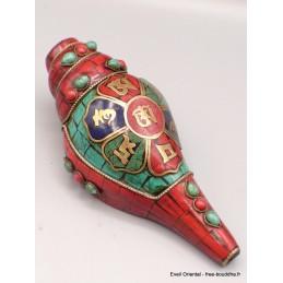Conque tibétaine symboles bouddhistes ref 4046.5