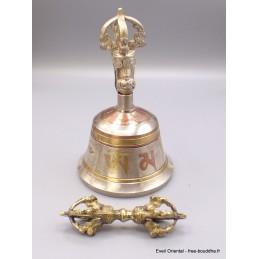 Cloche dorjé tibétain 14 cm Yeux du Bouddha mantra CEDOR5