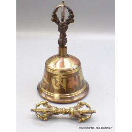 Cloche dorjé tibétain 14 cm bronze cuivre Dorje CEDOR7