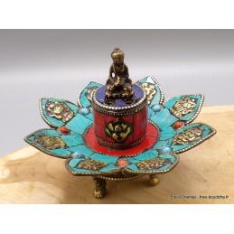 Porte-encens tibétain Turquoise cuivre ref 3034.1