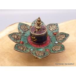 Porte-encens tibétain authentique turquoise ref 3034.2