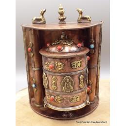 Moulin à prières tibétain fait à la main en cuivre NMAP9.1