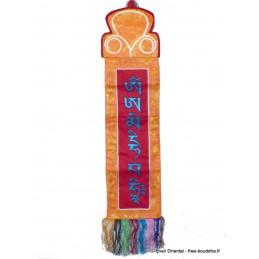 Tenture tibétaine rouge Mantra de Manjushri Tentures tibétaines Bouddha MAN11