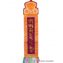 Tenture tibétaine bordeau Mantra de Manjushri Tentures tibétaines Bouddha MAN11.1