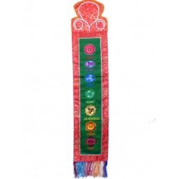 Tenture tibétaine 7 chakras verte rouge TEN7C2