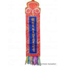 Tenture tibétaine mantra de Bouddha Sakyamouni bleue TENBK2