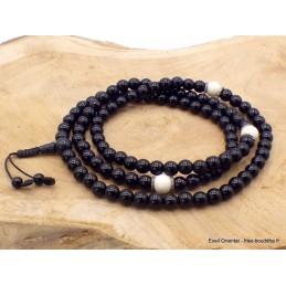 Mala de prières bouddhiste Onyx noir Corail blanc BM26.1