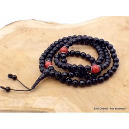 Mala de prières bouddhiste Onyx noir Corail rouge BM26.2