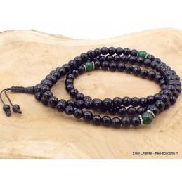 Mala de prières bouddhiste Onyx noir Jade néphrite BM26.3
