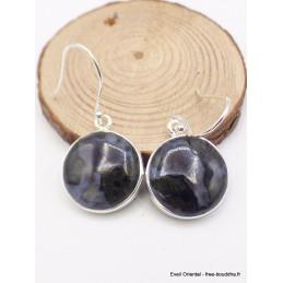 Boucles d'oreilles ronde en Merlinite Mystique Bijoux en Merlinite Mystique Gabbro PU106.1