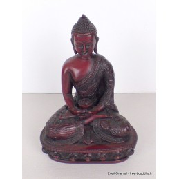 Statuette rouge Bouddha assis position lotus STARB1.1