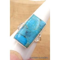 Bague rectangulaire Turquoise de Mohavie Taille 62 Bagues pierres naturelles TUV58.9