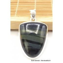 Pendentif Oeil de Tigre Bleu semi oval Pendentifs pierres naturelles TUV23.5