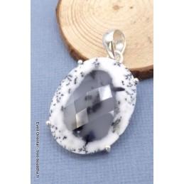 Merlinite opale dendritique ovale facettée Pendentifs pierres naturelles TUV28.4