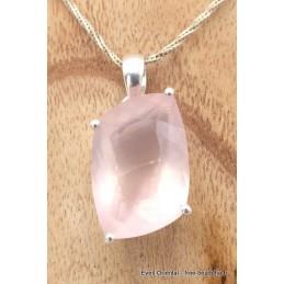 Pendentif Quartz Rose facetté asymétrique Pendentifs pierres naturelles TUV36.6