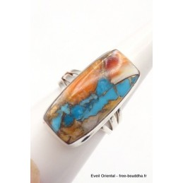 Bague Turquoise Spiny Oyster rectangulaire T 59 Bijoux en Turquoise WL24.5