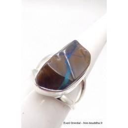 Bague Opale Boulder marron bleu T 53 Bagues pierres naturelles TUV63.3