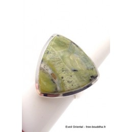 Bague triangulaire Séraphinite sur Opalite taille ajustable Bagues pierres naturelles TUV61.2