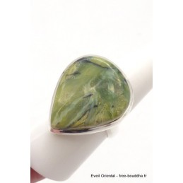 Bague Séraphinite sur Opalite taille ajustable forme goutte Bagues pierres naturelles TUV61.3