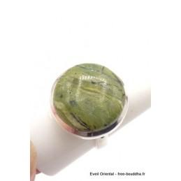 Bague Séraphinite sur Opalite taille ajustable ronde Bagues pierres naturelles TUV61.4