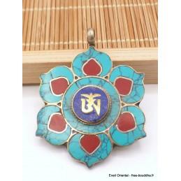 Pendentif tibétain fleur et Om Bijoux tibetains bouddhistes  PT24.1
