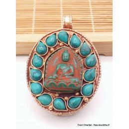 Pendentif tibétain Ghau patine cuivre antique Bijoux tibetains bouddhistes  PT24.2