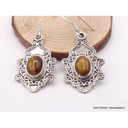 Boucles d'oreilles style Bali en Oeil de Tigre Bijoux en Oeil de Tigre MB38.6
